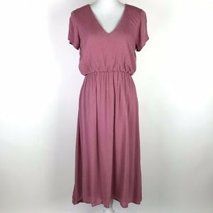 Piper And Scoot Dress Pink V-Neck Midi Crepe
